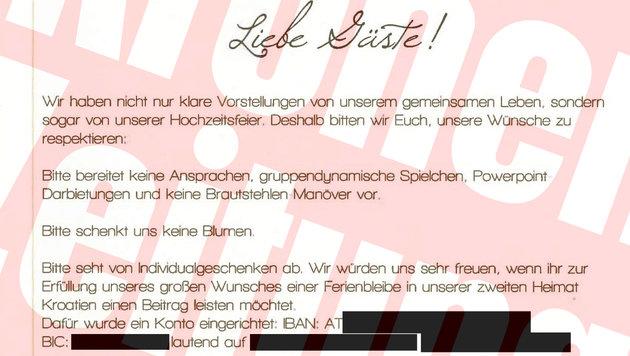 Auf der Einladung bat das Ehepaar Klaus Luger und Michaela Mader um Geld für ihre Ferienbleibe. (Bild: Krone)