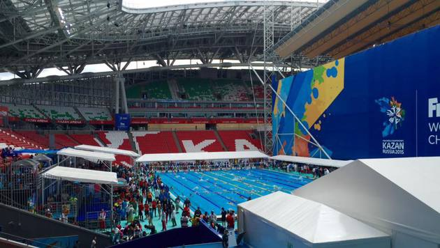 Kasan: Die Schwimm-WM im Fußball-Stadion (Bild: Olaf Brockmann)