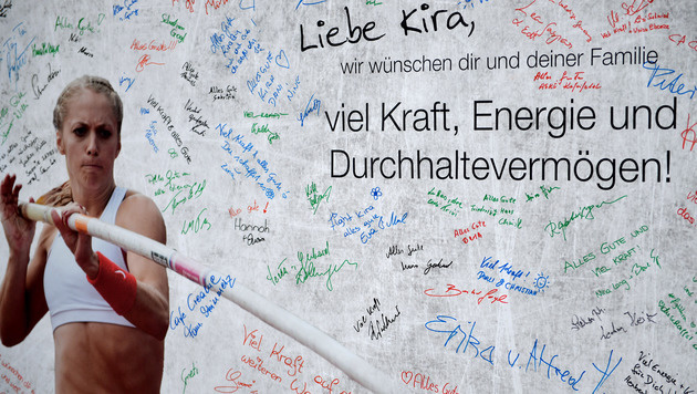 Genesungswünsche für Kira Grünberg beim Austrian Top Meeting in Linz (Bild: GEPA)