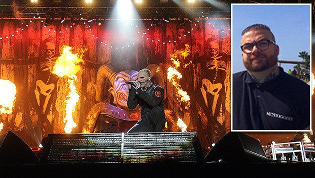 Slipknot setzte ihr Konzert ohne Bassist Alessandro Venturella (kl. Bild) fort. (Bild: APA/EPA/HERBERT P. OCZERET, instagram.com/laurenjanestevens)
