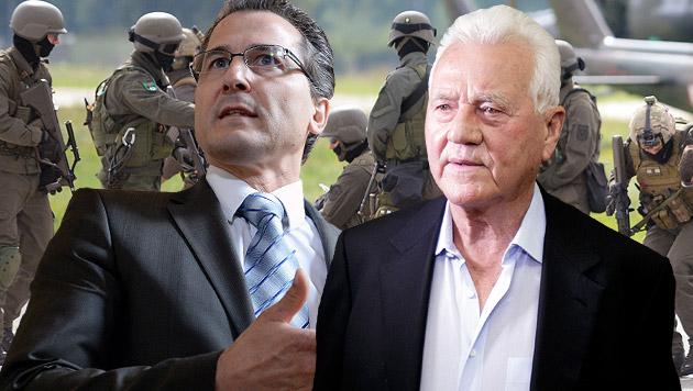 Robert Lugar, Parteichef Frank Stronach; im Hintergrund: Soldaten des Jagdkommandos des Bundesheeres (Bild: APA/ROBERT JAEGER, APA/GEORG HOCHMUTH, APA/ROLAND SCHLAGER)
