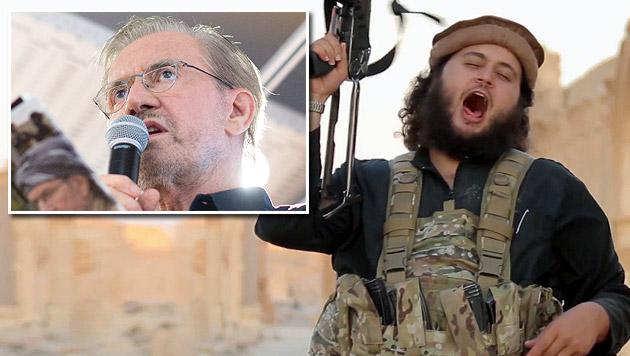 Szene aus dem Exekutionsvideo; kleines Bild: IS-Experte Todenhöfer (Bild: twitter.com, APA/GEORG HOCHMUTH)
