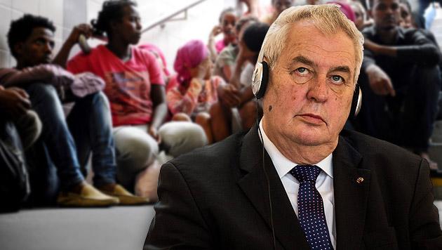 Tschechien-Präsident: Flüchtlinge nicht eingeladen (Bild: APA/EPA/FILIP SINGER, APA/EPA/ANDREASGEBERT)