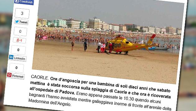 Beinahe ertrunken - Zehnjährige aus Meer gerettet (Bild: Screenshot nuovavenezia.gelocal.it)