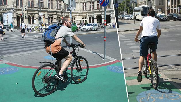 Grüne Radwege in Wien färben ab (Bild: Peter Tomschi)