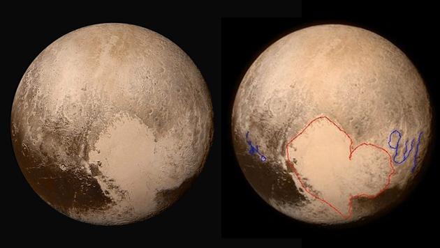 """Pluto: Links das """"Herz"""" auf einer NASA-Aufnahme, rechts die angeblichen arabischen Schriftzeichen (Bild: APA/EPA/NASA/HANDOUT, Twitter.com)"""