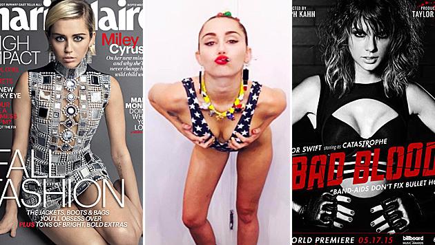 Miley Cyrus prangert Taylor Swifts Doppelmoral an. (Bild: Marie Claire, Viennareport)