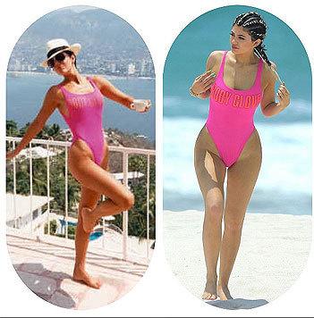 Kris Jenner (59) und Tochter Kylie (18) im selben 80er-Jahre-Badeanzug (Bild: Instagram/krisjenner)