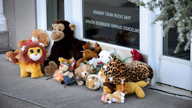 Vor der Praxis von Walter Palmer legten Tierfreunde Stofftiere als Zeichen ihrer Trauer ab. (Bild: AP)