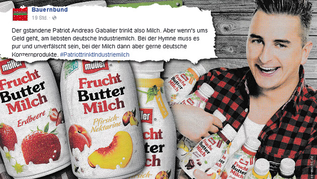 """Bauernkrieg"" gegen Andreas Gabalier (Bild: Kronen Zeitung, Facebook.com)"