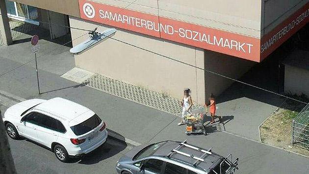 Mit 60.000-Euro-Auto zum Wiener Sozialmarkt (Bild: privat)