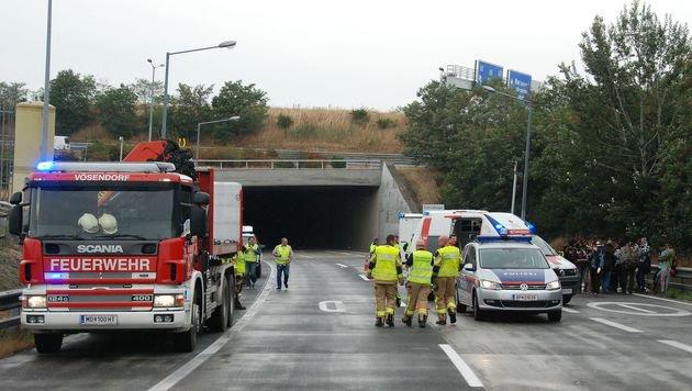 Sechs Verletzte bei Unfall mit Schlepperfahrzeug (Bild: Herbert Wimmer/Pressestelle BFK Mödling)