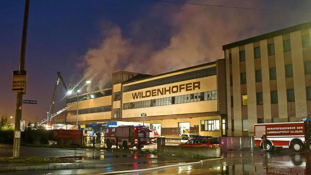 Großeinsatz der Feuerwehr bei Lagerhallenbrand (Bild: APA/FMT-PICTURES/MW)