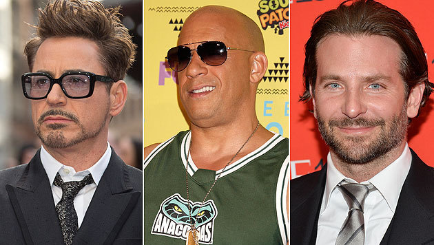 Hollywoods Alphamännchen sind auch die Topverdiener: Robert Downey Jr., Vin Diesel, Bradley Cooper (Bild: AP/EPA)