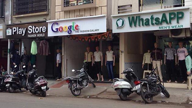 Mode von WhatsApp und Google, direkt aus dessen Play Store. Diese Fashionmeile bietet einfach alles. (Bild: reddit.com/r/crappyoffbrands/comments/3a6tox/diversi)