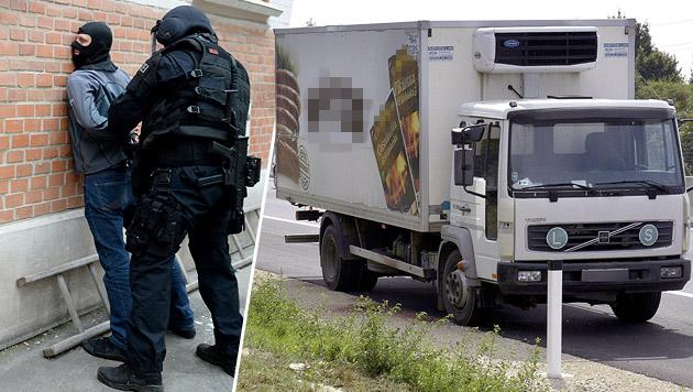 Die Polizei konnte am Freitag einen Teil der Schlepperbande festnehmen. (Bild: APA/HANS PUNZ, APA/ROLAND SCHLAGER (Symbolbild))