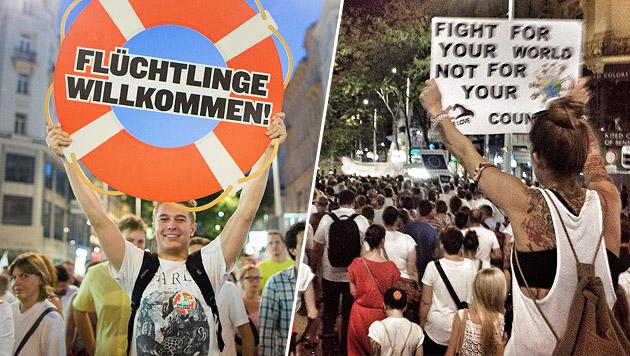 Asylpolitik: 20.000 Menschen bei Demo in Wien (Bild: APA/EPA/GEORG HOCHMUTH, Stephan Schätzl)