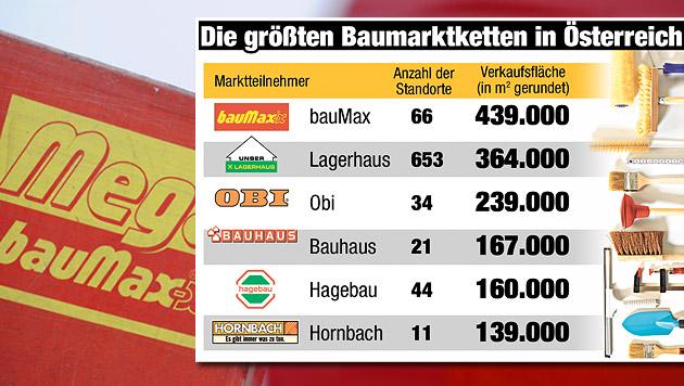 bauMax-Verkauf: Hilfe für gekündigte Mitarbeiter (Bild: APA/HERBERT PFARRHOFER, Krone-Grafik)