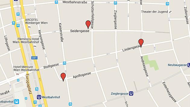 Die möglichen Standorte der neuen Asylquartiere in Wien-Neubau (Bild: Google Maps)
