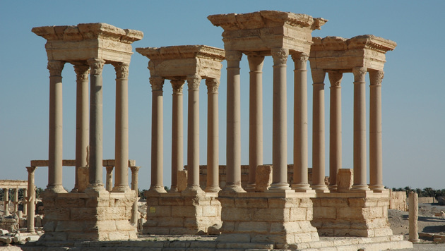 Antike Säulen in Palmyra vor der Zerstörung durch den IS (Bild: AP)