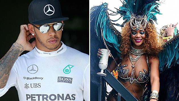 Lewis Hamilton und Rihanna (Bild: APA/EPA/OLIVIER HOSLET, Viennareport)