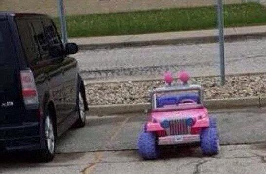"""So ambitioniert """"parkt"""" Tara ihren Jeep. (Bild: Twitter)"""