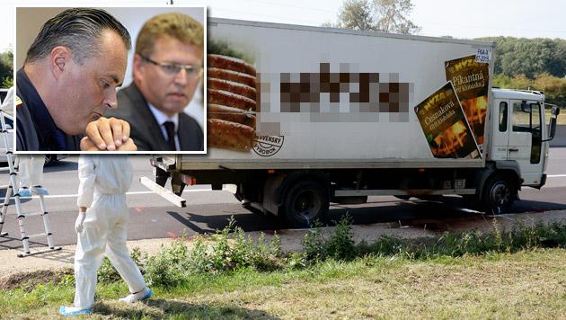 Burgenlands Landespolizeidirektor Doskozil (kl. Bild); der Lkw, in dem 71 Menschen sterben mussten (Bild: APA/ROLAND SCHLAGER)