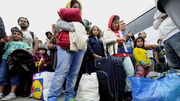 Busse brachten die Flüchtlinge zum Westbahnhof. (Bild: APA/HERBERT PFARRHOFER)