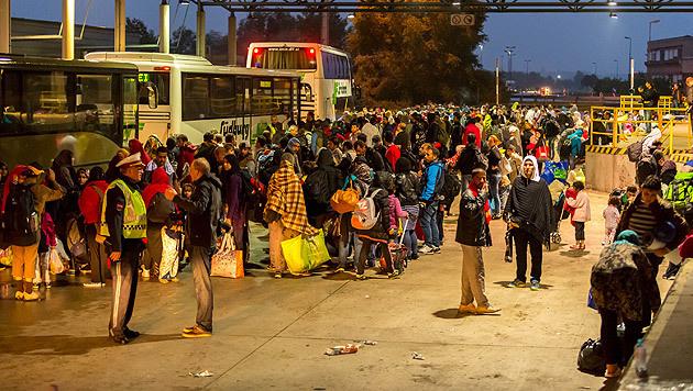 Flüchtlinge am Grenzübergang Nickelsdorf (Bild: reporter.co.at)