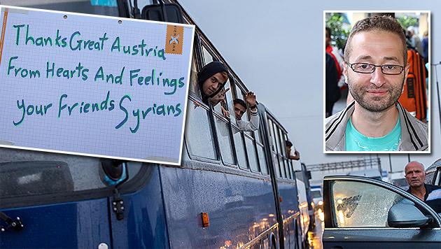 Samir (re.) und seine Dankesworte an Österreich (Bild: Peter Berger, Erwin Jannes)