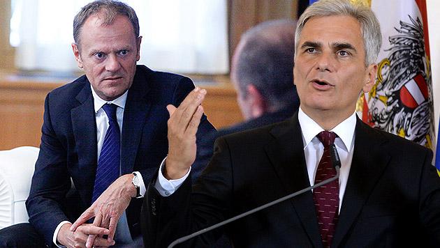 EU-Ratspräsident Tusk, Kanzler Faymann (Bild: APA/EPA/LELA BLAGONRAVOVA/GEORGIAN, APA/ROLAND SCHLAGER)
