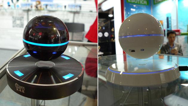 Andere Bluetooth-Speaker schweben. Klappt magnetisch und hat - außer Show - keinen tieferen Sinn. (Bild: Dominik Erlinger)