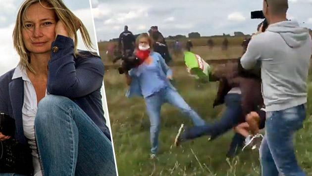 Trat Fl�chtlinge: Ungarische Kamerafrau angeklagt (Bild: liveleak.com, facebook.com)
