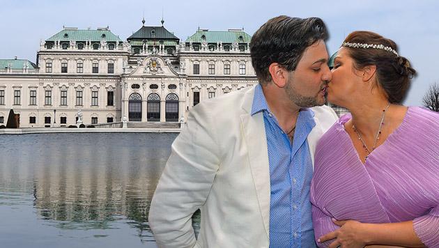 Anna Netrebko: Hochzeit im Schloss Belvedere (Bild: APA/HELMUT FOHRINGER, tablera/knipserbande.at)
