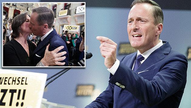 ÖVP-Spitzenkandidat Manfred Juraczka kann auch auf die Unterstützung seiner Frau (kl. Bild) zählen. (Bild: APA/GEORG HOCHMUTH)