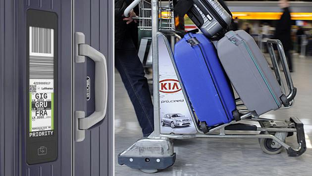 E-Gepäckanhänger soll das Reisen bequemer machen (Bild: Rimowa, dpa/Boris Roessler, krone.at-Grafik)