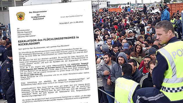 """Menscheninvasion überfordert Nickelsdorf restlos"" (Bild: APA/HERBERT P. OCZERET, nickelsdorf.at)"