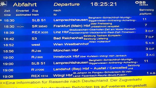 Anzeigetafel auf dem Salzburger Hauptbahnhof (Bild: APA/VERA REITER)