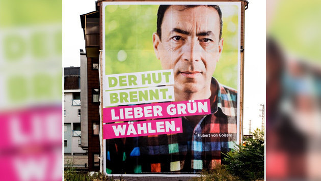 Das Riesenplakat prangt auf einer Hausfassade in Linz. (Bild: Twitter.com/Severin Mayr)