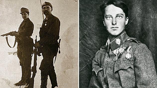 """Viktoria Savs mit ihrem Vater an der Front (li.) und als Soldat """"Hansl"""" mit ihren Orden (re). (Bild: Heeresgeschichtliches Museum Wien)"""