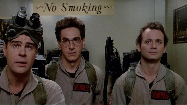 "Kult: Bill Murray, Dan Aykroyd und Harold Ramis 1984 in einer ""Ghostbusters""-Szene (Bild: Viennareport)"