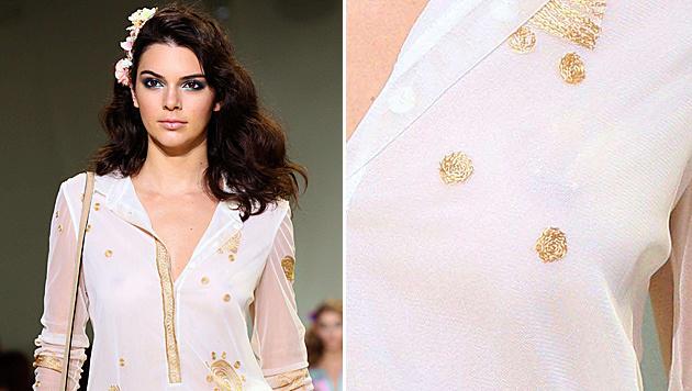 Kendall Jenner ließ am Catwalk ihr Nippelpiercing blitzen. (Bild: AFP)