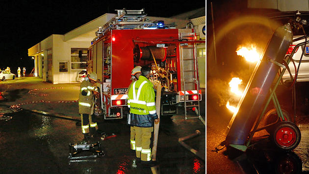Cobra wegen brennender Gasflasche im Einsatz (Bild: Gerhard Schiel)
