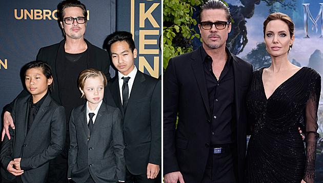 Shiloh Jolie-Pitt (Bildmitte) mit ihrem Vater Brad Pitt und den Brüdern Pax (l.) und Maddox (r.) (Bild: Viennareport, APA/EPA/FACUNDO ARRIZABALAGA)