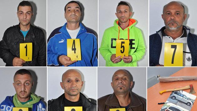 Die mutmaßliche siebenköpfige Einbrecherbande sowie ihr Tatwerkzeug (Bild: APA/LPD NIEDERÖSTERREICH)