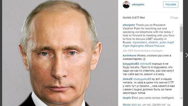 """Stolz postete der Pop-Gigant das Foto von Wladimir Putin nach dessen """"Anruf"""". (Bild: Instagram.com/eltonjohn)"""