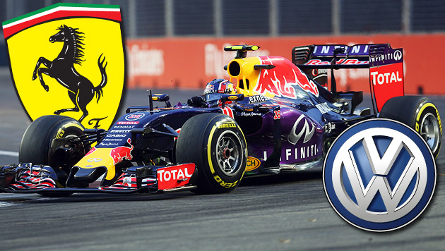 Red Bulls Motoren-Lösung: Erst Ferrari, dann VW (Bild: GEPA)