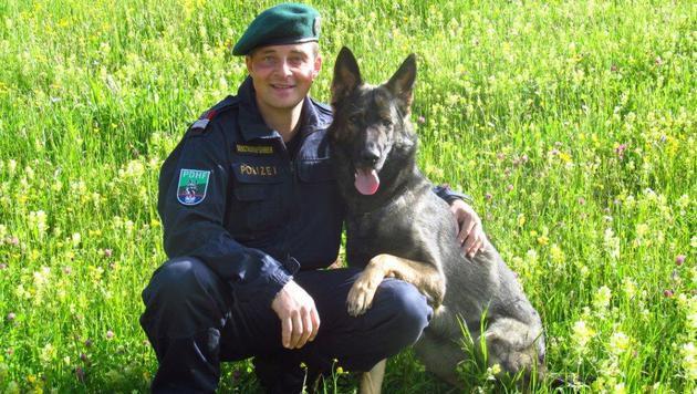 """Hundeführer Christian Scherl mit Spürnase """"Odie"""" (Bild: LPD Tirol)"""