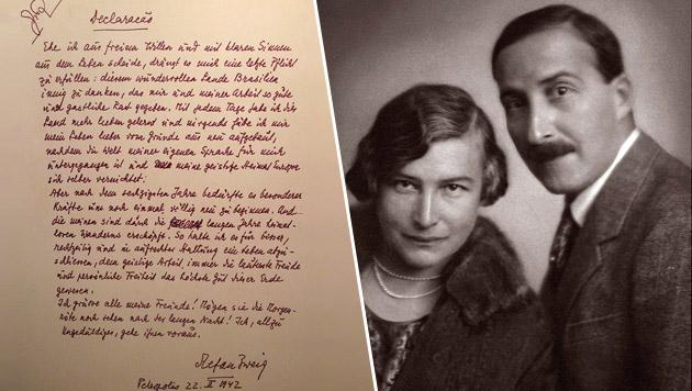 Stefan Zweig mit seiner Frau Friderike im Jahr 1927; links sein Abschiedsbrief (Bild: APA/dpa, IMAGNO Archiv Setzer Tschiedel)