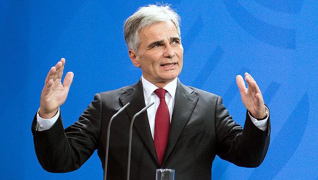 """Faymann: Mehr Geld, oder """"Hotspots"""" verzögern sich (Bild: APA/EPA/Wolfgang Kumm)"""